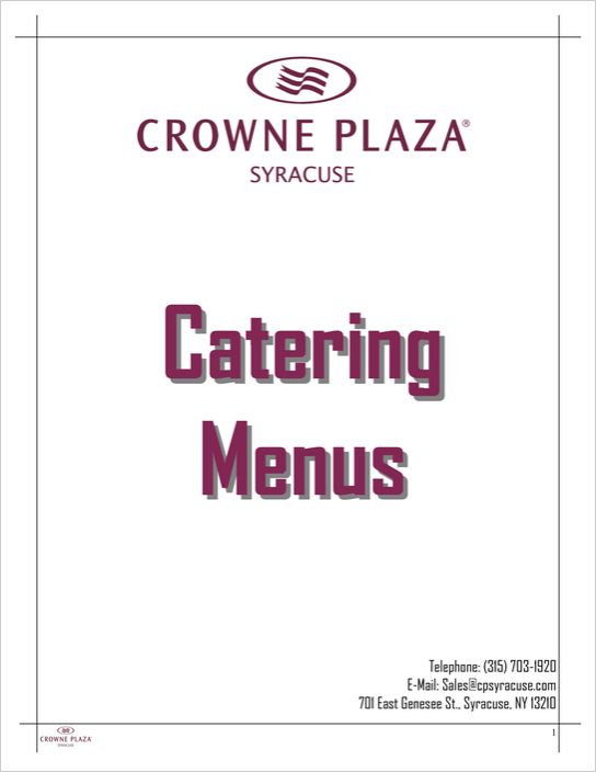 Full Catering Menu - Crowne Plaza Syracuse - Good places that cater in Syracuse
